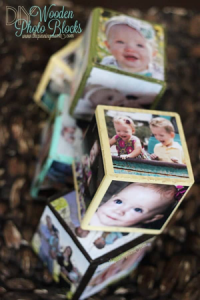 wooden blocks with photos glued to each side