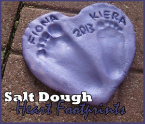 a piece of hardened dough with footprints