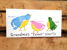 """canvas with footprint painted to look like a bird that says """"grandma's tweet hearts"""""""